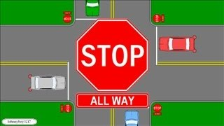 Who Has The Right Of Way At A All Way Stop/ Multi Way/ 4 Way Learn Traffic Signs Rules Of The Road