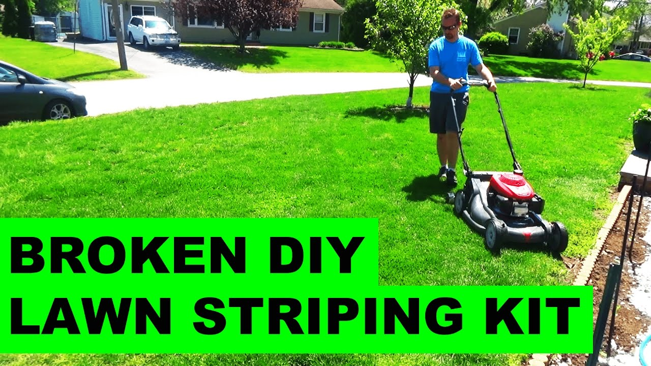 Broken DIY Striper on Honda Self Propelled Lawn Mower - YouTube