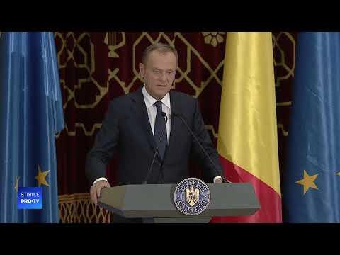 Discurs impresionant în limba română susținut de Donald Tusk, președintele Consiliului UE