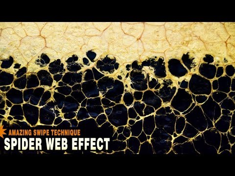 How To Spider Web Effect - Fluid Art Acrylic with Silicone Glue Floetrol