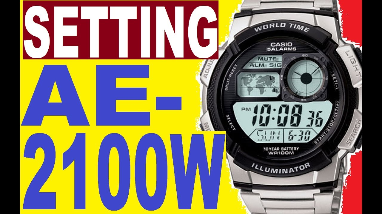 7c989aa58623c Setting Casio AE-2100W manual 3198 for use - YouTube