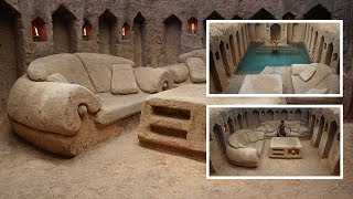 Building most secret hidden underground house with private living room and swimming pool