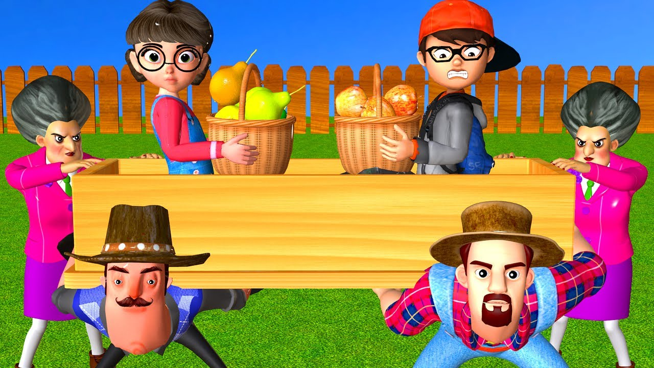 Scary Teacher 3D Nick and Tani Troll Fruit Garden of Miss T and 2 Neighbor with Coffin Dance