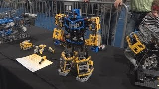 lego technic Transformer, Mindstorms Robot Hand, V8 Engine, Unimog, Barman on legoworld 2013