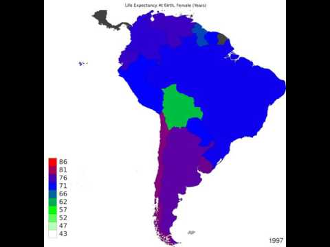 South America - Life Expectancy At Birth, Female - Time Lapse