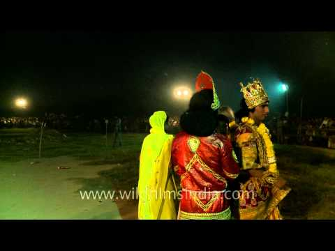 Ramlila actors on the ground to burn Ravana effigy - A Dussehra tradition in India
