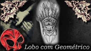 Tatuagem Lobo com geométricos.