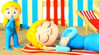 Mommy Fall Asleep At The Beach ❤ Cartoons For Kids