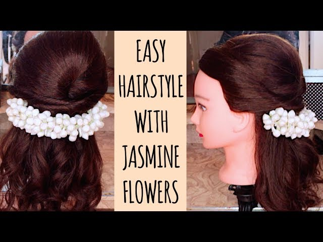 Half Up Half Down Hairstyle With Jasmine Flower With Loop