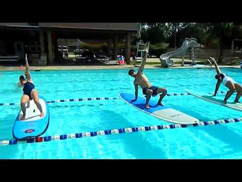 Teaching SUP pool yoga