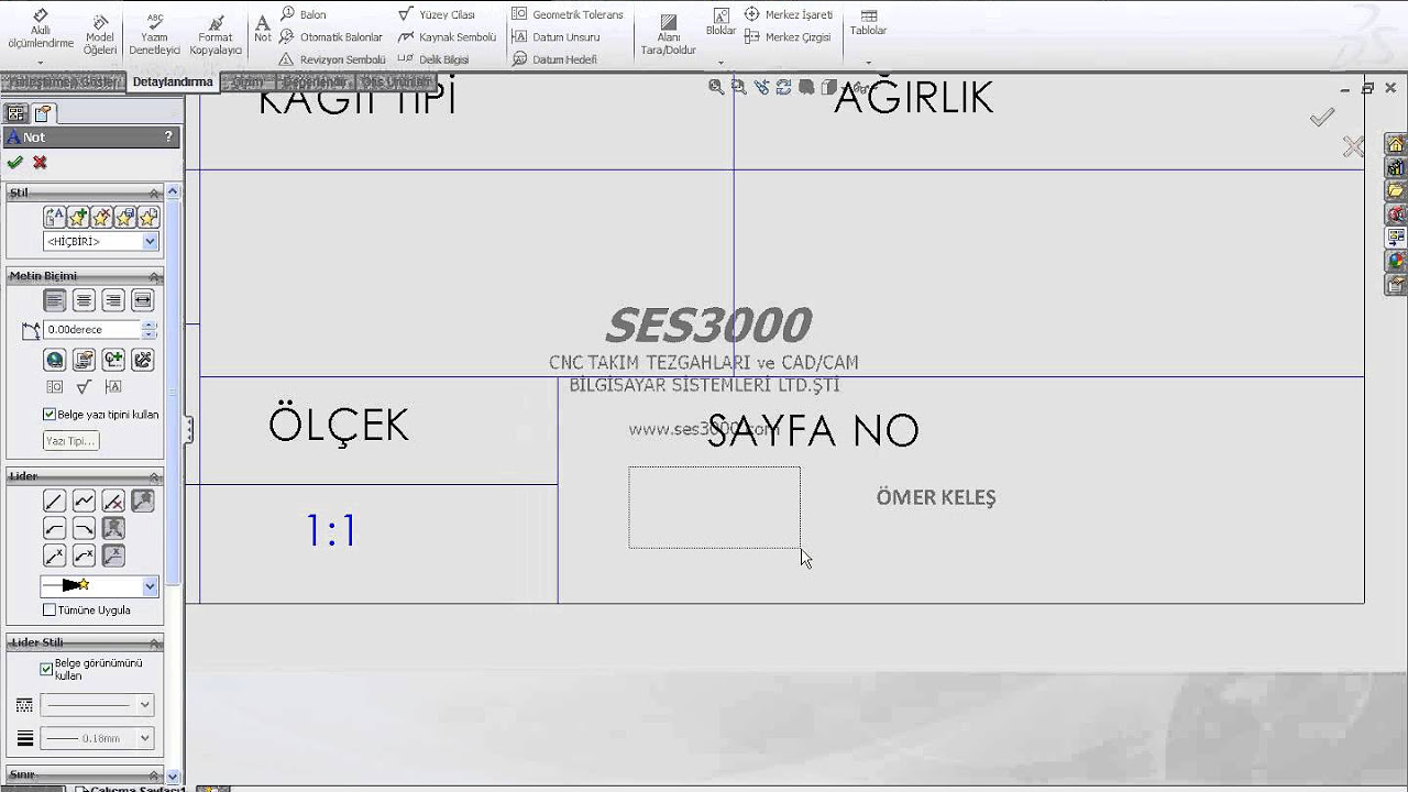 SolidWorks Teknik Resim Şablonu ve Antet