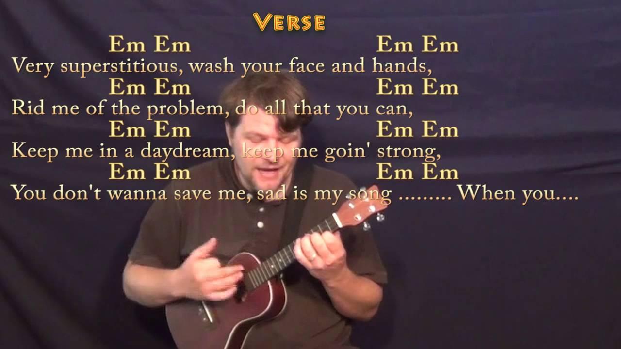 Superstition Stevie Wonder Ukulele Cover Lesson in Em with Chords/Lyrics