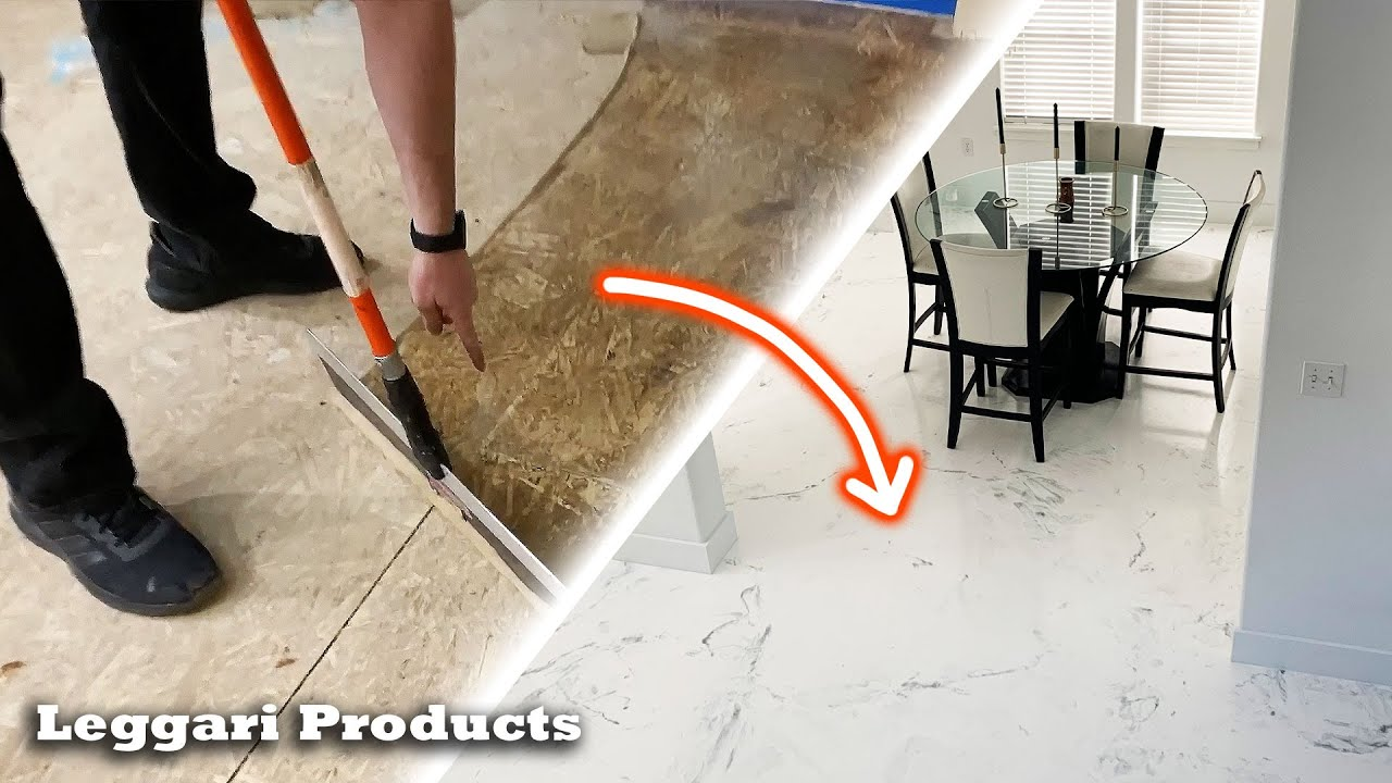 You Would Never Guess It's Over Wood Subfloor | DIY Faux White Marble Luxury Floor Using Epoxy