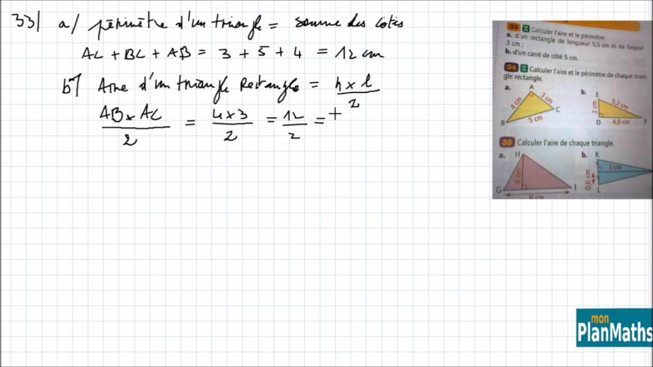 Monplanmaths Surface Aire Et Perimetre D Un Triangle College 6eme Youtube