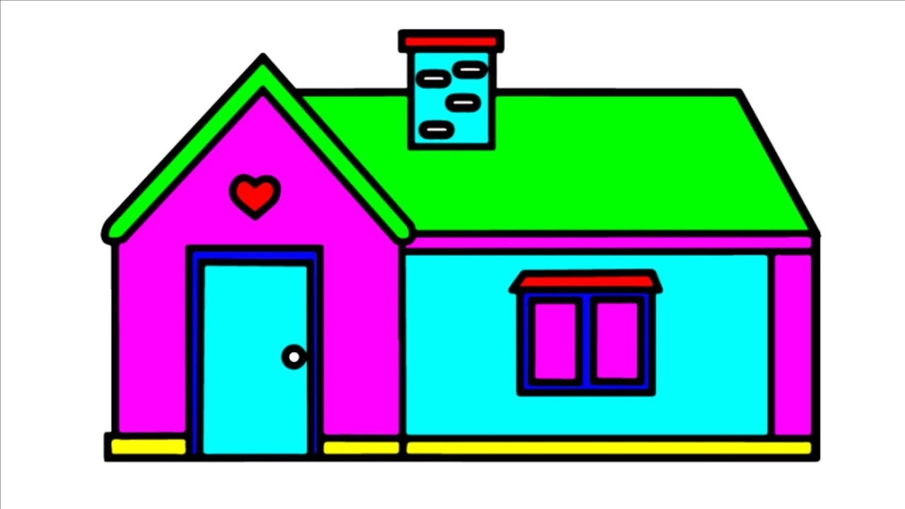 How to Draw Cute House - Colors and Coloring Page - Drawing for Kids ...