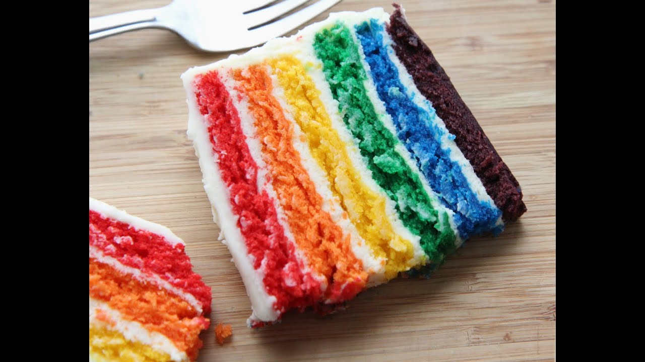 How To Make A Rainbow Cake Easy From Scratch Recipe
