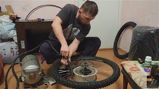 Горный Велосипед - Самодельная Бескамерная шиповка на горный велосипед. Зима и лед не почем!(В этом видео я покажу как сделать безкамерную лёгкую зимнюю шипованую резину для велосипеда. Расскажу..., 2016-02-07T07:31:41.000Z)