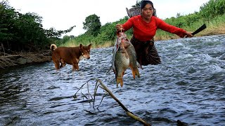 woman catch fish for puppy mother food- boil fish for dog eating delicious- cooking in forest HD