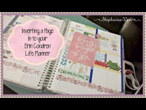Inserting a page in to Erin Condren Life Planner