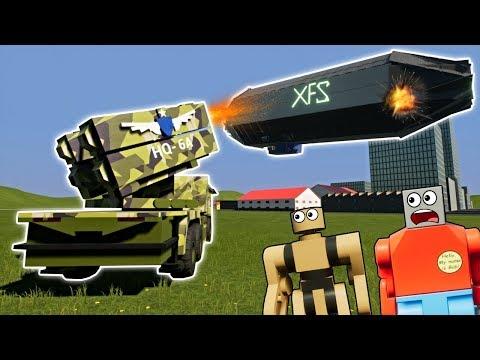 LEGO MISSILE LAUNCHER DESTROYS HUGE AIRSHIP! - Brick Rigs Gameplay - Lego City Destruction