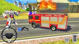 소방관 로봇 변환 트럭-응급 구조 시뮬레이터-Android 게임 플레이
