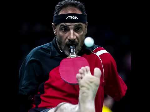 Table Tennis player without hands.