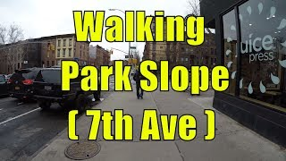 ⁴ᴷ Walking Tour of Park Slope, Brooklyn, NYC - 7th Avenue from 9th Street to Flatbush Avenue