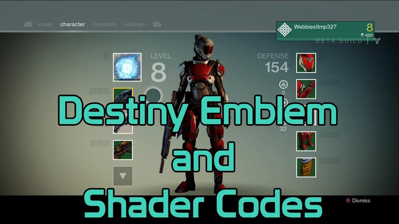 New <b>Destiny</b> Emblem and Shaders <b>Codes</b> [Xbox One/360/PS4/PS3] - YouTube