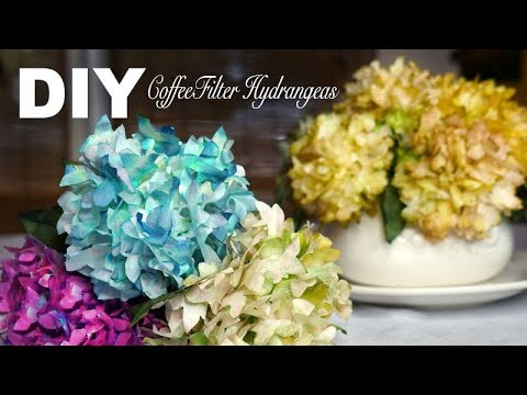 DIY | Simple Realistic Hydrangeas - Coffee Filter Flowers - YouTube