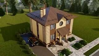 Проект красивого двухэтажного дома 10х10 м 155 кв.м.   SketchUp + Lumion