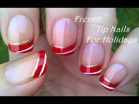 French Manicure Nail Design For Holidays Super Easy Christmas Nails