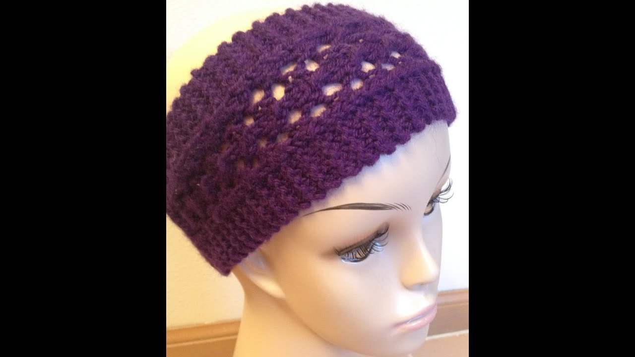 How To Knit Easy Lacy Headband - Knitting Lace For Beginners - YouTube