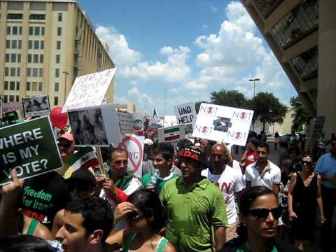 Iranian-Americans rally in Dallas, Texas in support of Democracy Movement in Iran