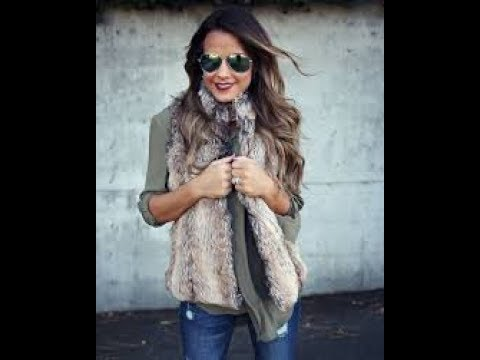 Winter Jeans and Faux Fur Vest outfits