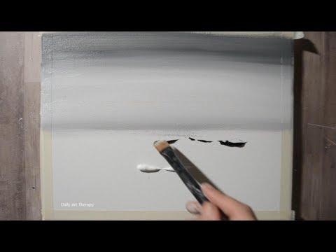 Daily Landscape Painting #17 / Horse Mist / Acrylic Black & White / Blending Technique