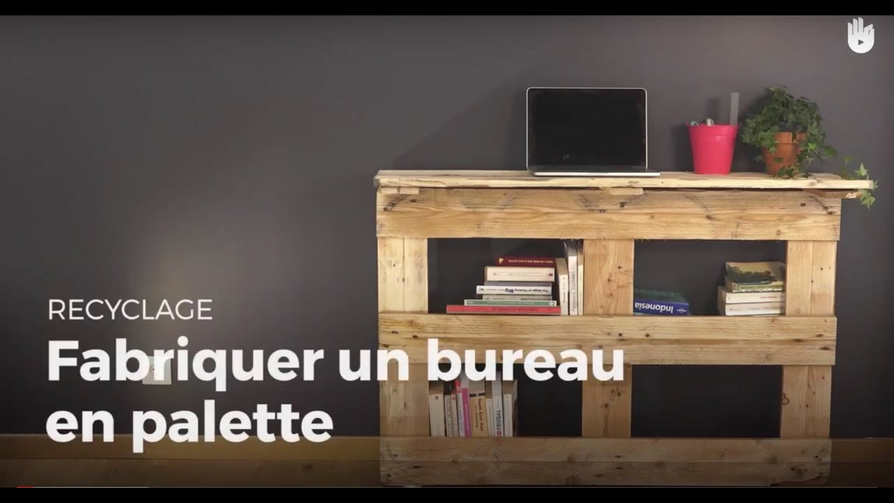 fabriquer un bureau en palette recycler youtube. Black Bedroom Furniture Sets. Home Design Ideas