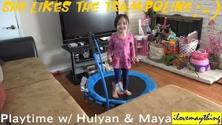 Kids' Playtime: Maya is Jumping on a Trampoline! Family Indoor Fun