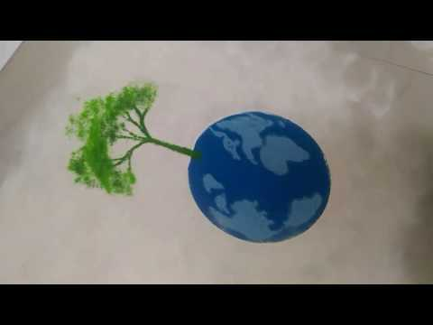 Save Trees Save Earth Easy Theme Rangoli For Competition By Shilpa S Creativity Youtube