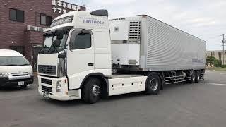 山本水産輸送 VOLVO 冷凍車トレーラー バック