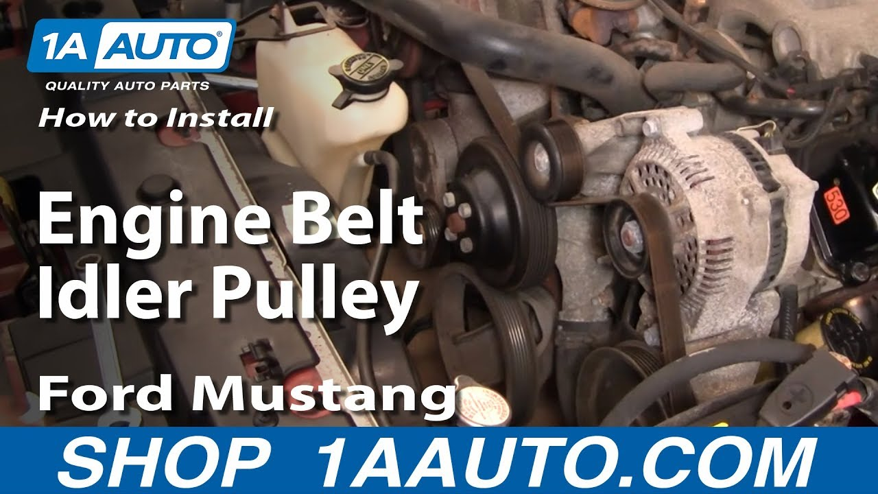 how to install replace engine belt idler pulley ford mustang 3 8l 99 rh youtube com Ford 4.2 Liter Engine Diagram Ford 4.6 Engine Diagram