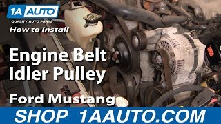 How to Install Replace Engine Belt Idler Pulley Ford Mustang 3.8L 99-04 1AAuto.com