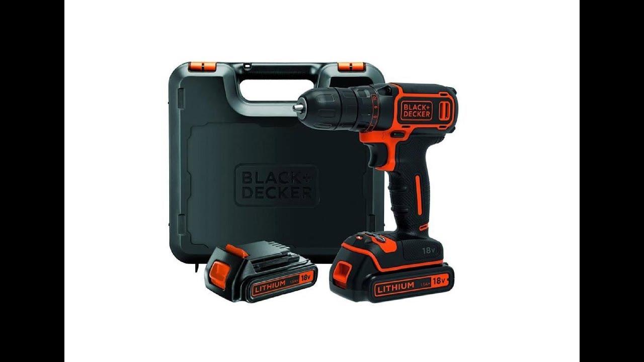1 battery charger BLACK /& DECKER 18V Lithium 2 Gear Hammer Drill Kitbox