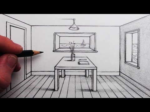 How To Draw A Room In 1 Point Perspective For Beginners Youtube