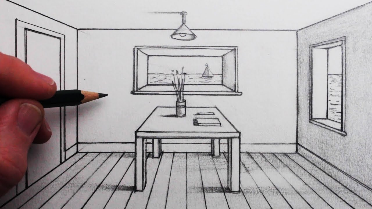 How to draw a room in 1 point perspective for beginners - One point perspective drawing living room ...