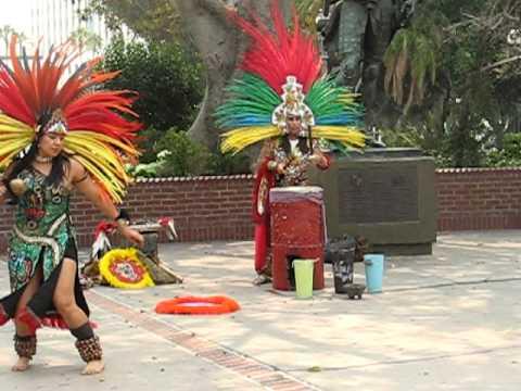 Traditional Aztec dance on Olvera street in LA