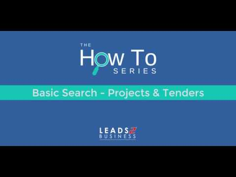 How To: Basic Search - Projects & Tenders