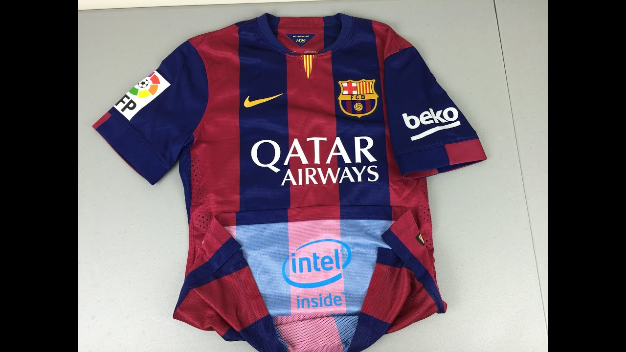 38737a999 Review and Comparison of 2014-2015 Authentic and Replica FC Barcelona Home  Jerseys