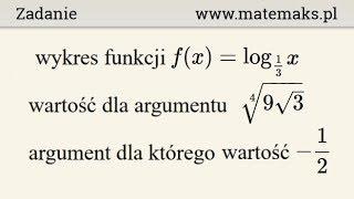 Funkcja logarytmiczna malejąca - wykres i wartość - zadanie