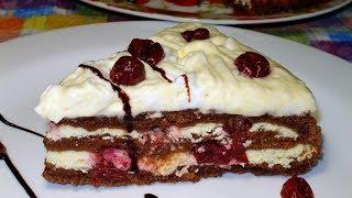 Творожный торт c вишней. Очень простой и вкусный рецепт