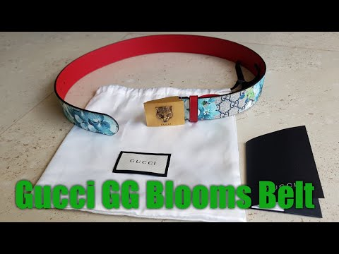 Gucci Belt Woman - Gucci GG Blooms Place/Moon 546384 KU2IT Blue Navy/Hibiscus - Unboxing - Haul